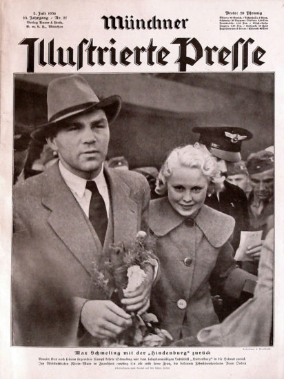 Max Schmeling, with his wife Anny Ondra, after returning to Germany on Hindenburg