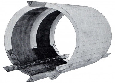 """Structural design of Akron/Macon, from """"The Story of the Airship"""" by Hugh Allen."""