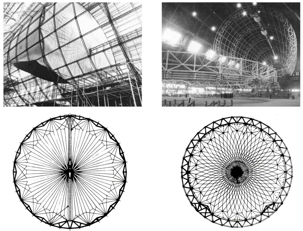 Design of main rings of Hindenburg (left) and Akron/Macon (right)