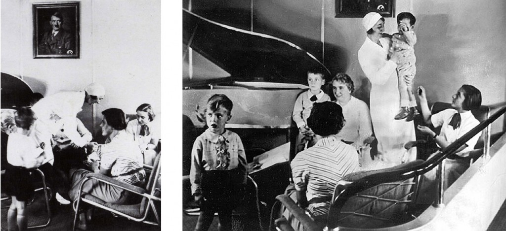 Two views of the Lounge, showing portrait of Hitler and the ship's duralumin piano. (The stewardess is Emilie Imhof, who was killed at Lakehurst in 1937.)