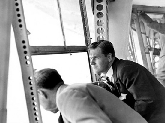 Nelson Rockefeller in Navigation Room of Hindenburg