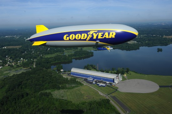 Wingfoot One over Goodyear's Wingfoot Lake Airship Base where it was assembled. (photo: Goodyear)