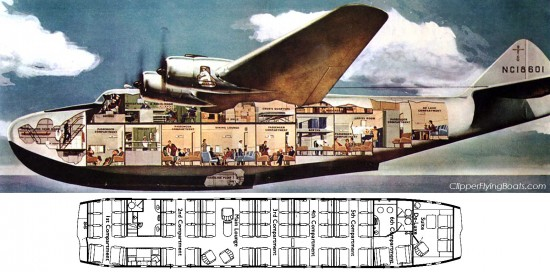 Boeing 314 cutaway and seat map