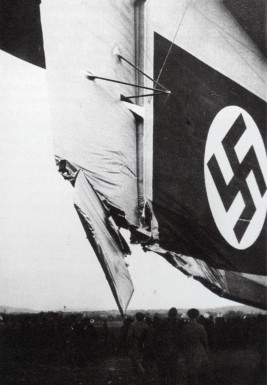Damage to Hindenburg during Nazi propaganda flight