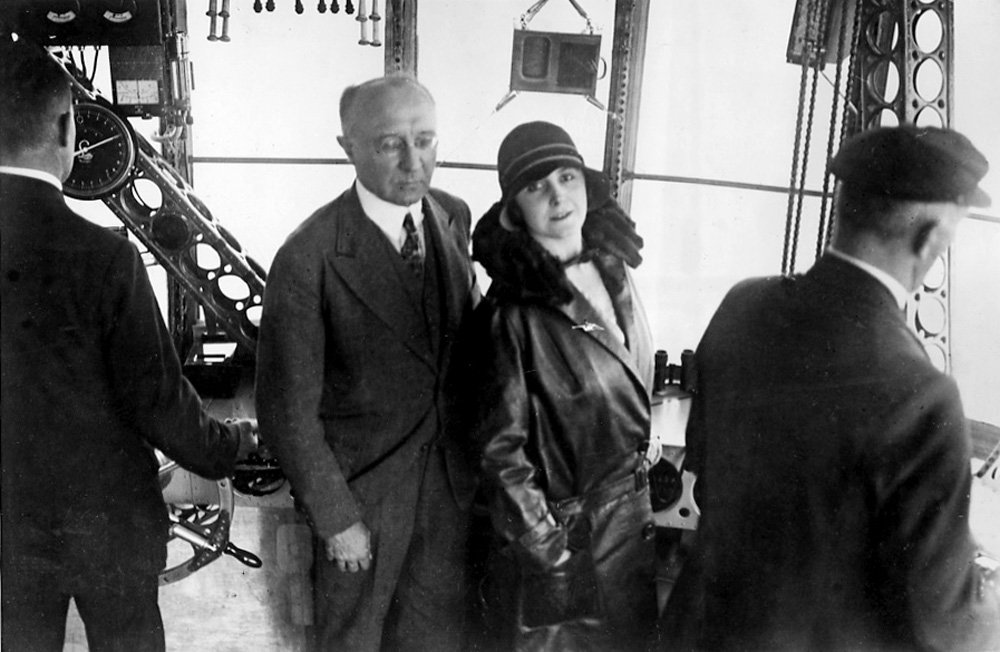 Grace Drummon-Hay and Karl von Wiegand in control car of LZ-127 Graf Zeppelin