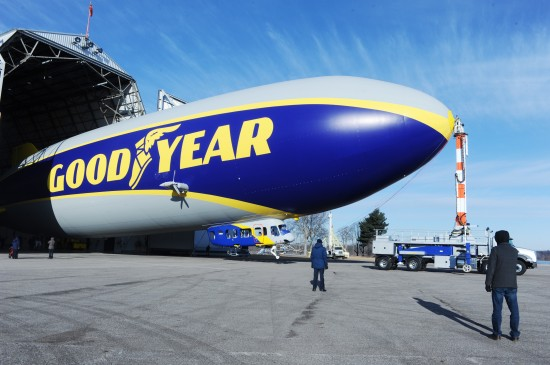 The new Goodyear airship leaving the hangar for its first flight on March 17, 2014. (photo: Goodyear)