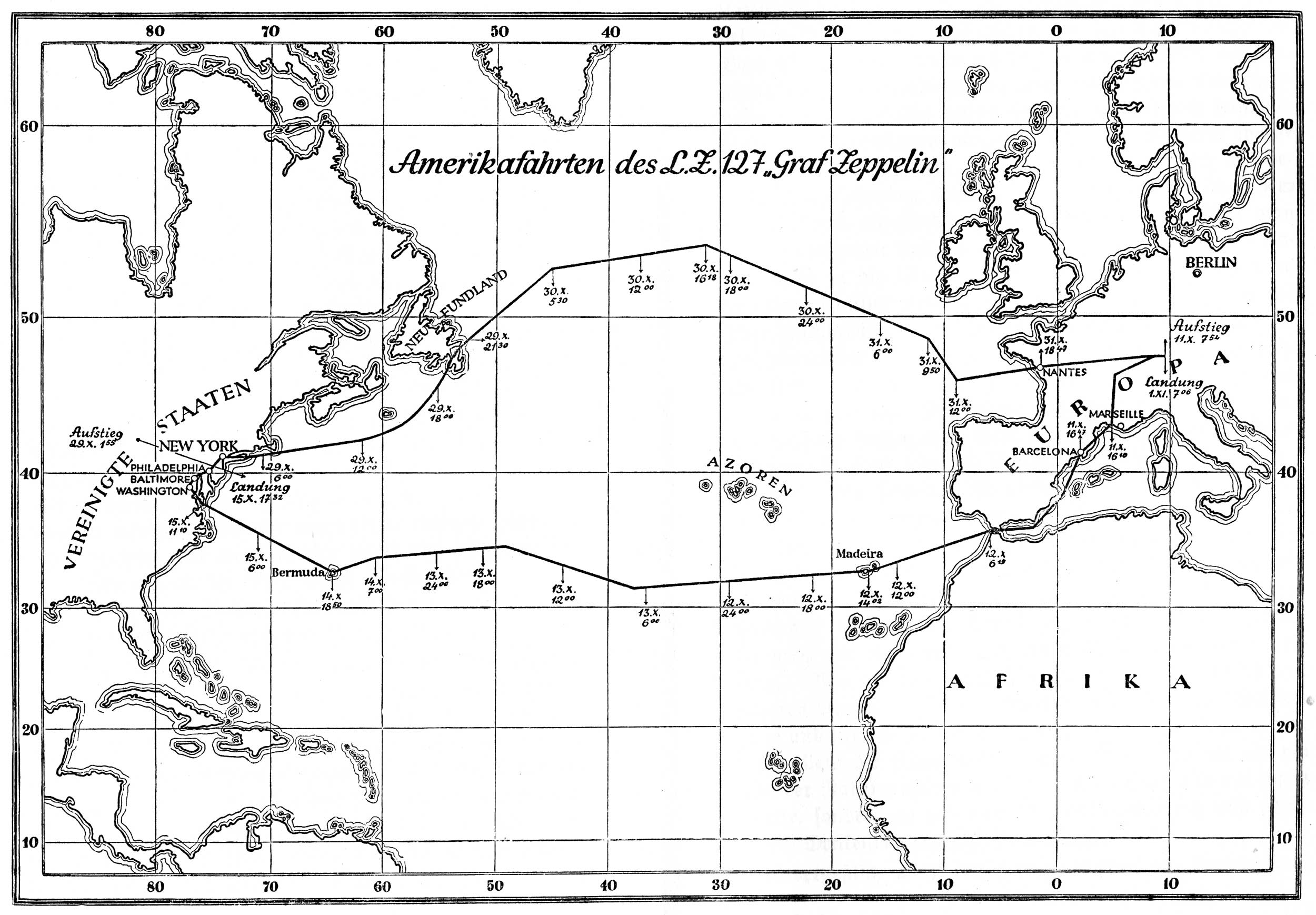 Graf Zeppelin first atlantic flight map
