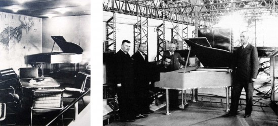 Lounge of the Hindenburg, as completed (left) and under construction. Zeppelin chief designer Ludwig Dürr standing at right of photo, with Professor Franz Wagner at the piano and Captain Ernst Lehmann to Wagner's right